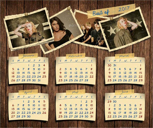 retro-photos-calendar-template