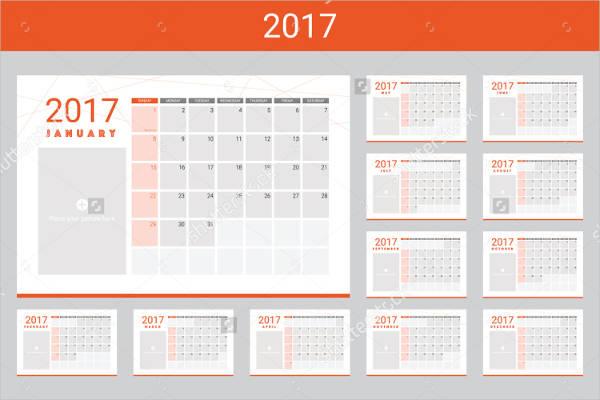 blank photo calendar template