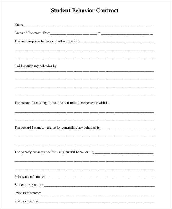 Behavior Contract Template   Free Sample Example Format
