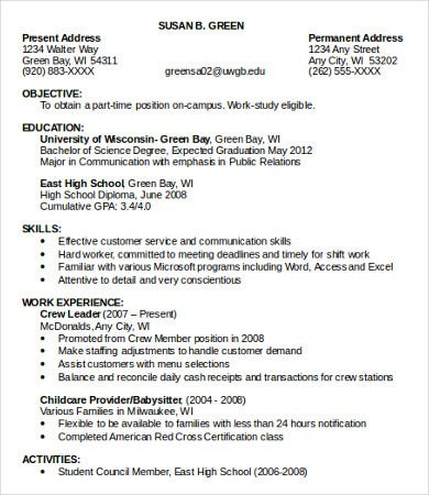 job resume template 10 sample resumes templates pdf doc free 14804 | Part Time Job Resume Examples
