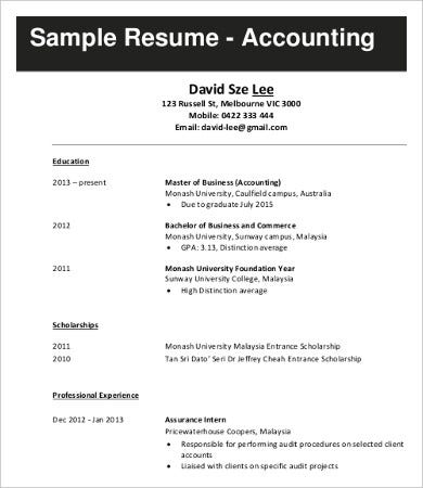 Accounting Job Resume Examples