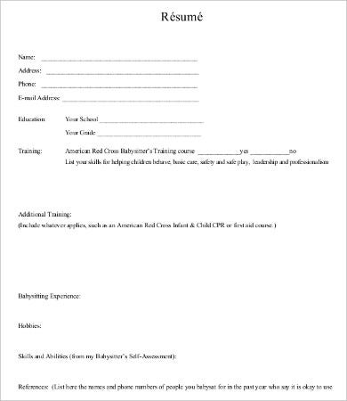 Babysitting Resume Templates | Resume Format Download Pdf