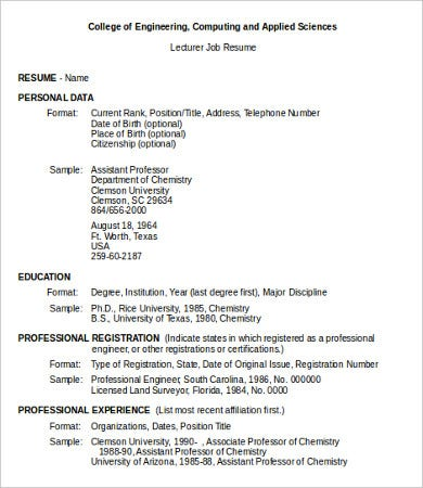 resume format for job 10 sample resumes templates pdf doc free 14432 | Lecturer Job Resume Examples