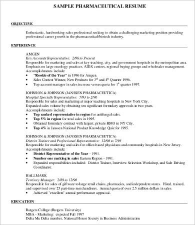 pharmacist job resume examples