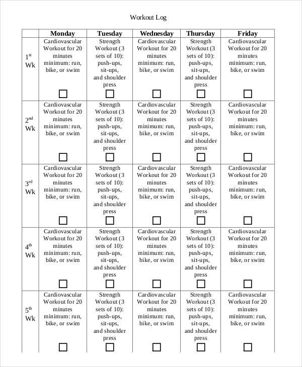 printable workout log sheets
