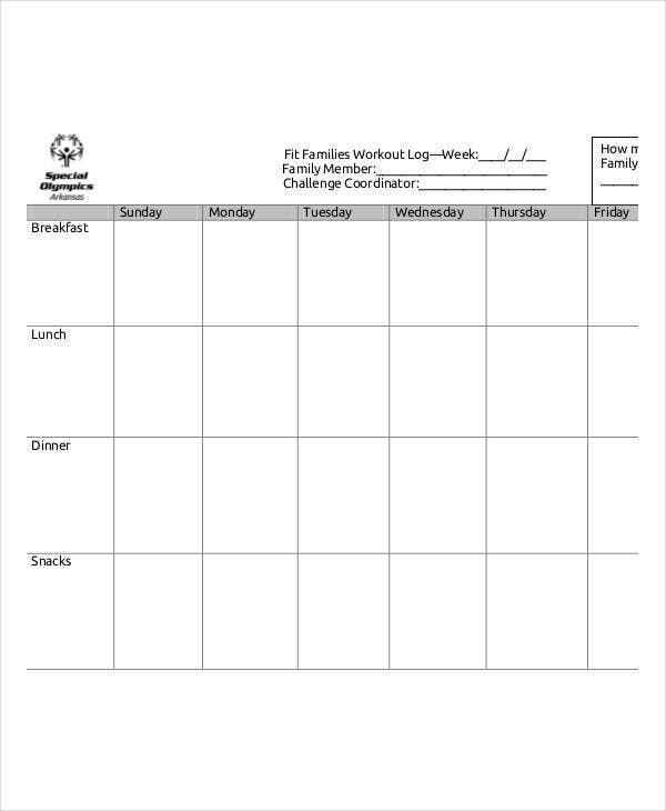 printable family workout log
