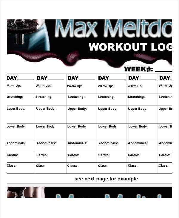 printable simple workout log