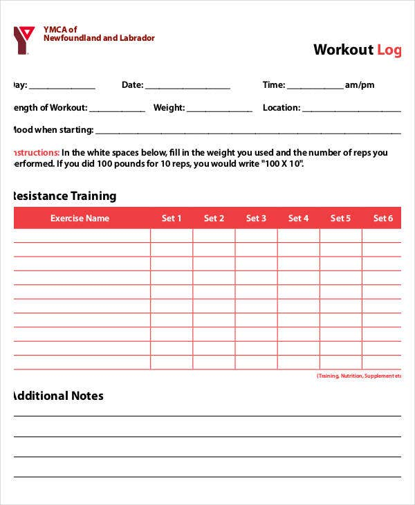 Printable Training Workout Log