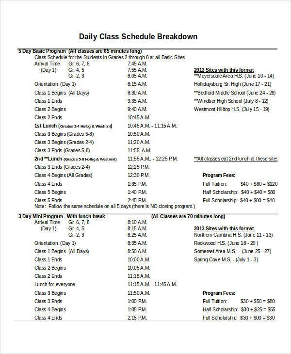 daily class schedule template excel