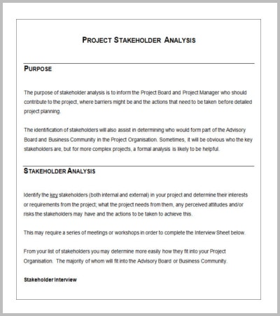 project stakeholder analysis template