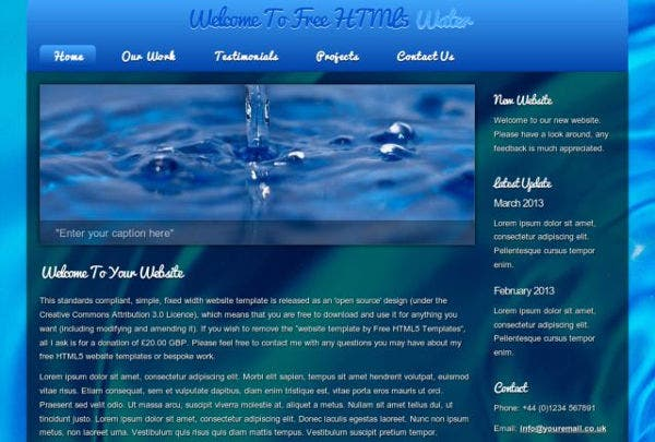 html5 water web template