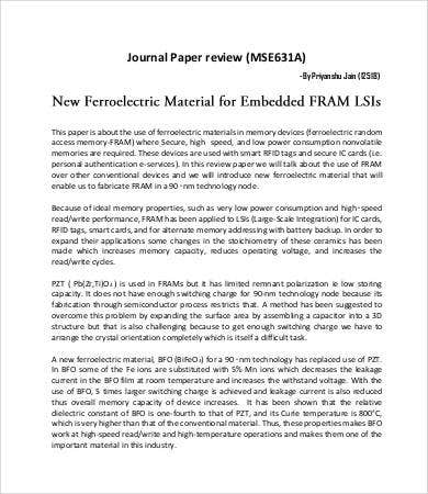 journal paper review template