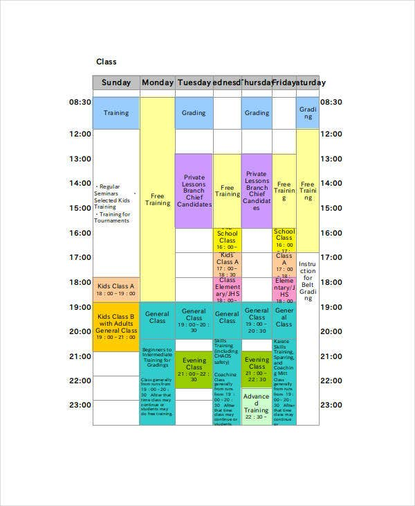 excel class schedule templates 8 free word excel pdf documents download free premium. Black Bedroom Furniture Sets. Home Design Ideas