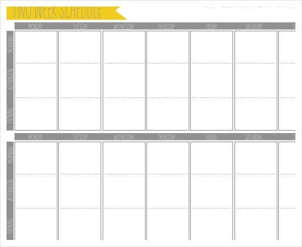Week Calendar Template 6 Free Sample Example Format