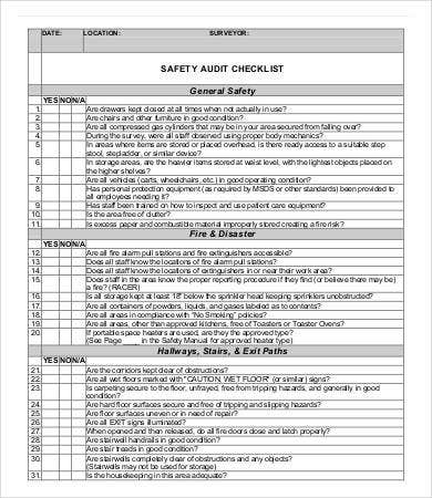 Safety Audit Checklist Template  Audit Forms Templates