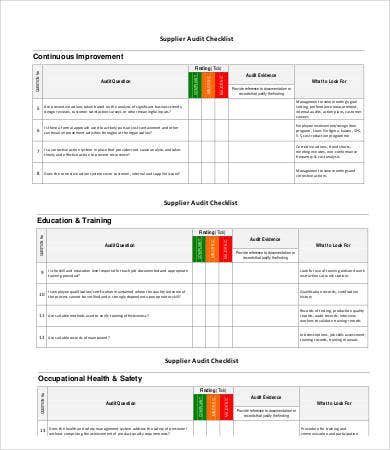 Supplier Audit Checklist  Audit Forms Templates