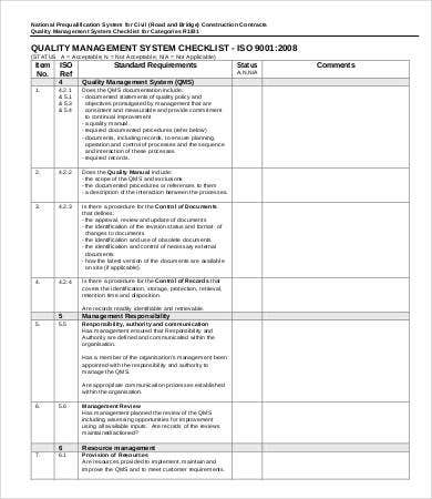 Quality Management System Checklist Sample