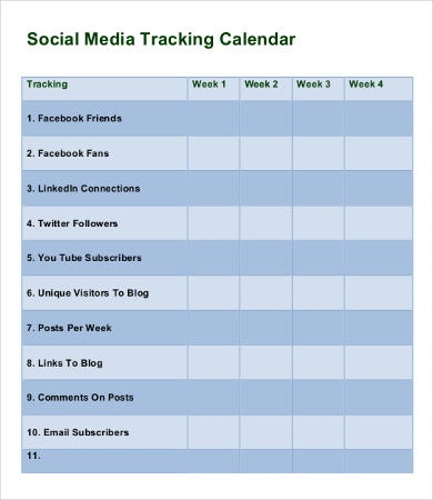 weekly social media tracking calendar template