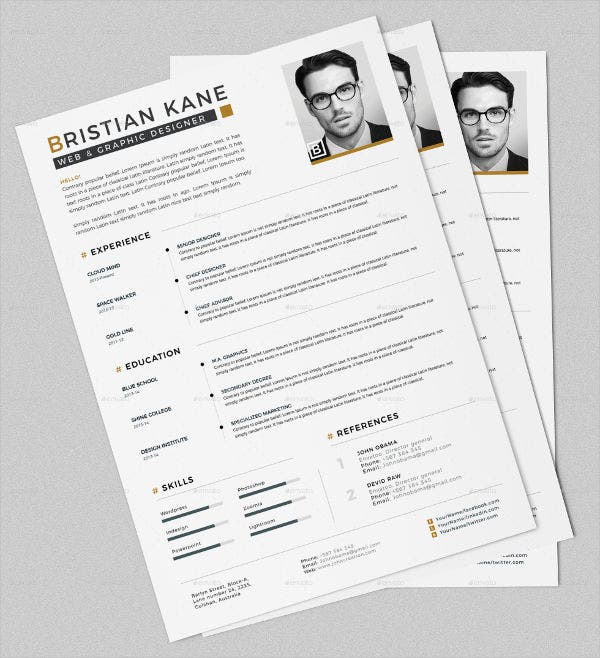 Unique Resumes Free Psd Word Pdf Document Download Free