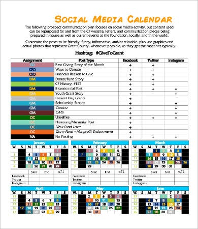 Yearly Social Media Calendar Template