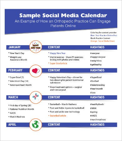 sample social media calendar template