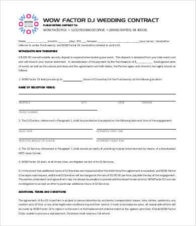 Dj Contract Template Free Contract Templates Word Pdf Agreements