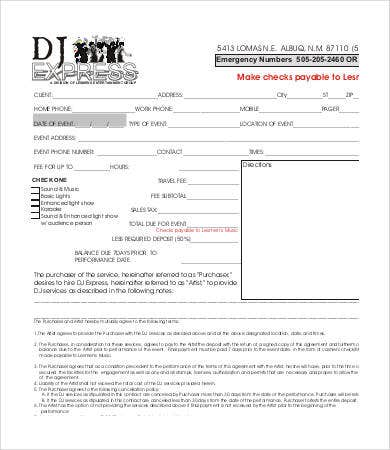 Dj Contract  Free Word Pdf Documents Download  Free  Premium