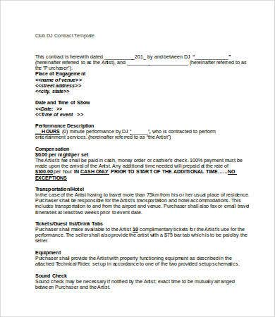 club dj contract template