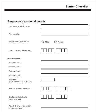 New Employee Checklist Template  Free Sample Example Format