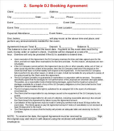 dj booking contract template - dj contract 16 free word pdf documents download free