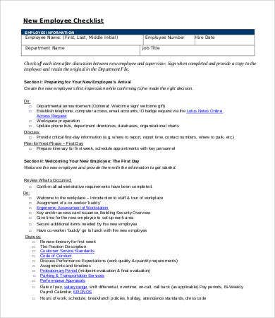 new employee health checklist sample
