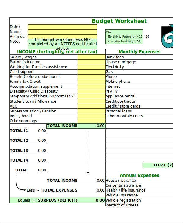 budget excel worksheet template