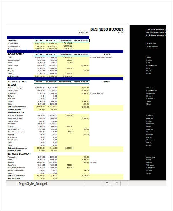 business budget excel template