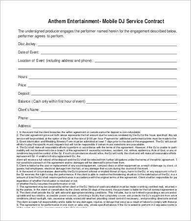 dj contract 16 free word pdf documents download free premium templates. Black Bedroom Furniture Sets. Home Design Ideas