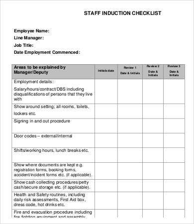 Sample Induction Checklist Template  Free Sample Example