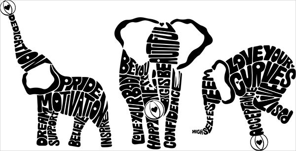 Elephant Typography Art