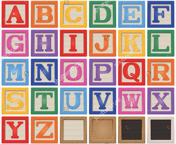 Colorful Printable Block Letters