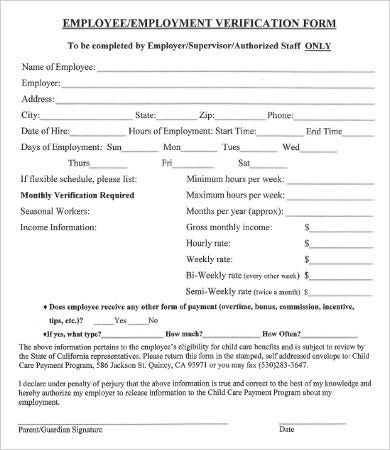 Blank Verification Of Employment Form  Past Employment Verification Form