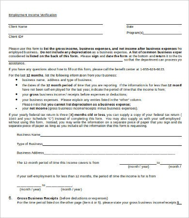 Employment Income Verification Form Template