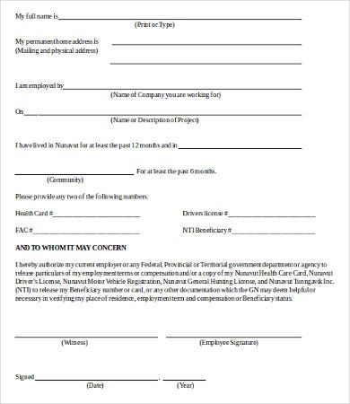 Generic Employment Verification Form