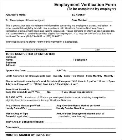 Employment Verification Form For Child Care  Landlord Employment Verification Form