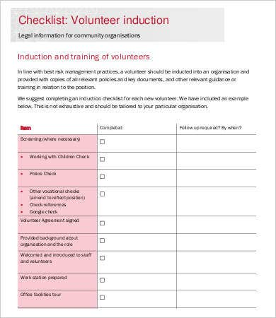 12 sample induction checklist template free sample for Volunteer questionnaire template