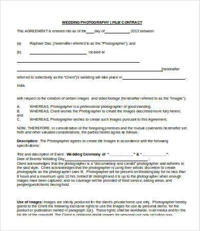 Charmant Wedding Photography Contract
