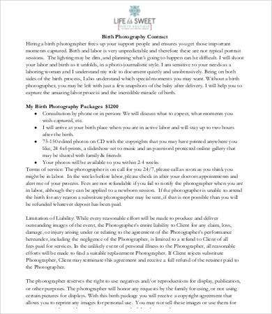 Photography Contract Templates  Free Sample Example Format