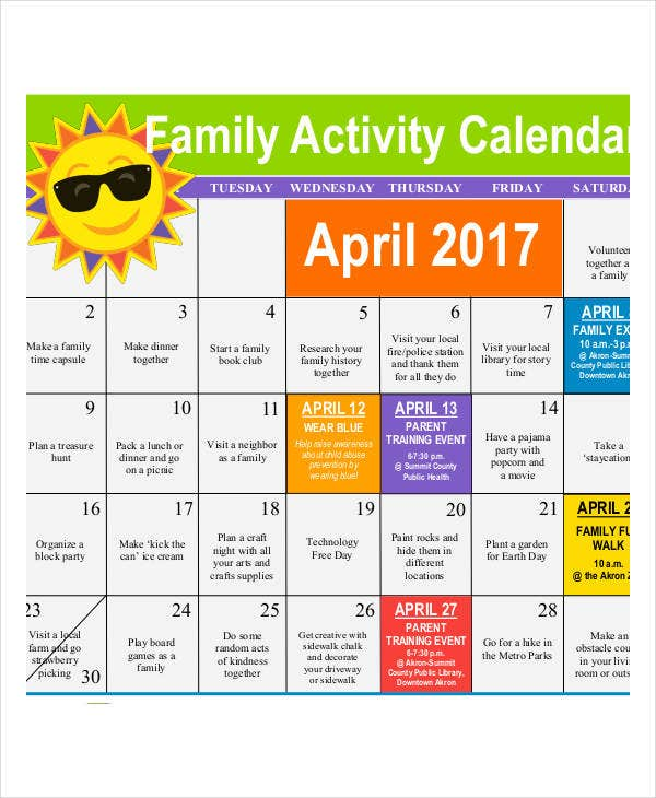 Family calendar template diet calendar template free for Sample calendar of events template