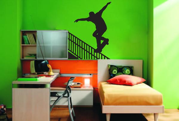 green painted wall art