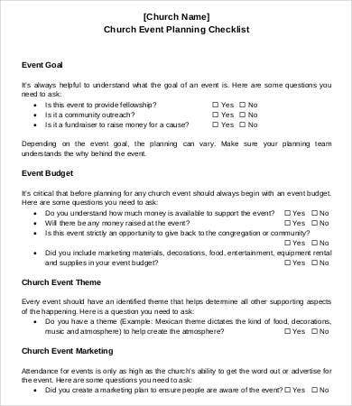 Sample Church Event Planning Checklist