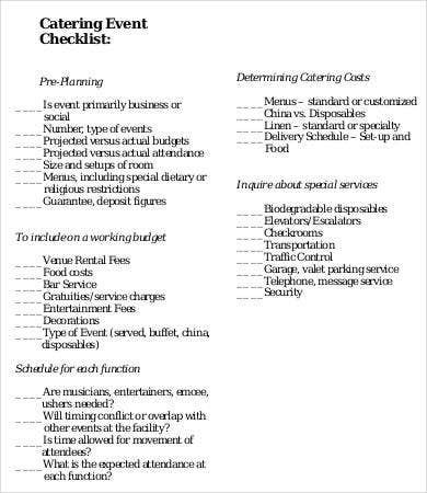 Catering Event Checklist