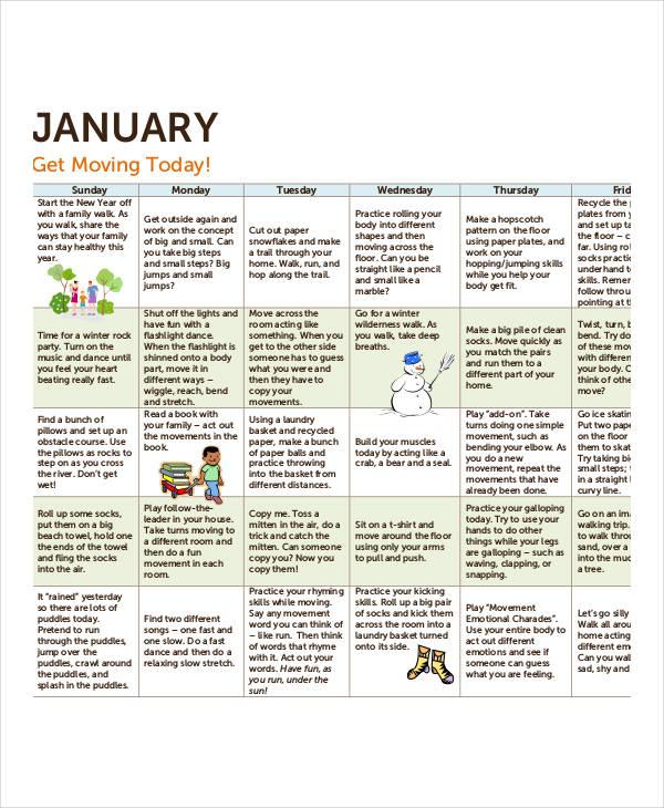 free activity calendar template