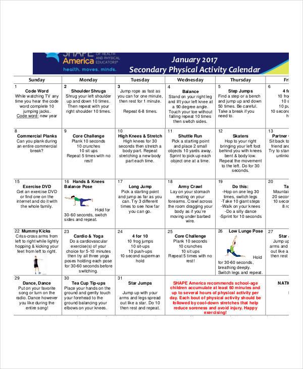 physical activity calendar